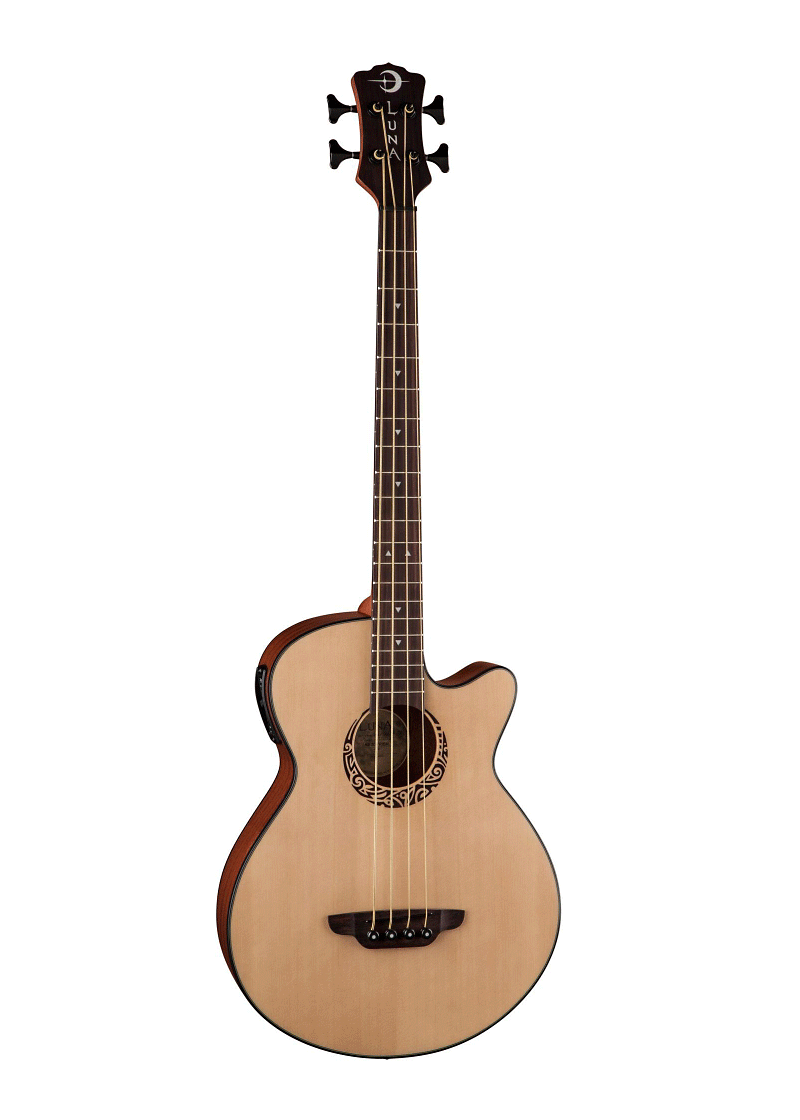 Luna Guitars Tribal Short Scale Acoustic Electric Bass 1